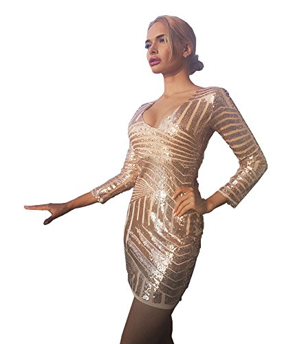 41ro7o+xCVL - Missord Damen Kleid Gold gold Small