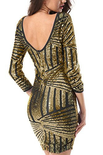 510NJO2tZ+L - Yidarton Damen Paillettenkleid Langarm Rundhals Backless Partykleid Ballkleid Abend Minikleid (Gold, XX-Large)