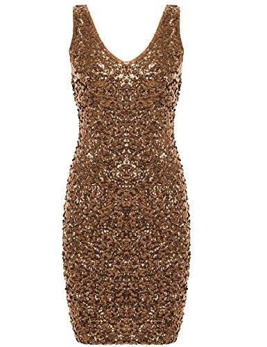 51JK+DMIKdL - PrettyGuide Damen reizvoller tiefer V-Ausschnitt Pailletten Glitzer Bodycon Stretchy Minipartei-Kleid Gold