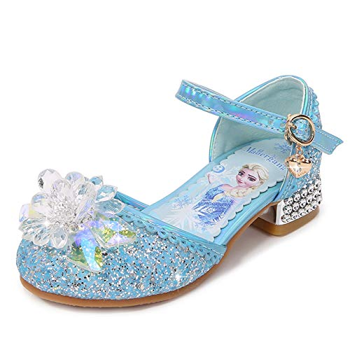 Fanessy Mädchen Prinzessin Schuhe High Heels Prinzessin ELSA Paillettenkleid Schuhe Ballett Tanzschuhe Schauspielerin Show Schuhe Cosplay Halloween Weihnachtsgeburtstag Party Kristall Sandalen Blau